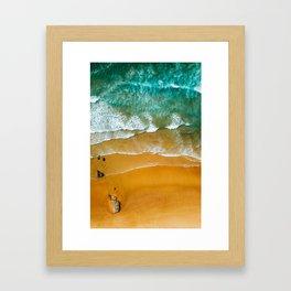 Ocean Waves Crushing On Beach, Drone Photography, Aerial Photo, Ocean Wall Art Print Decor Framed Art Print