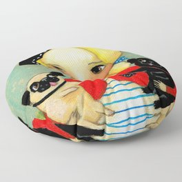 French girl with black pug and fawn pug Floor Pillow