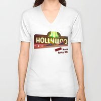 hollywood V-neck T-shirts featuring Hollywood Neon by Umbrella Design