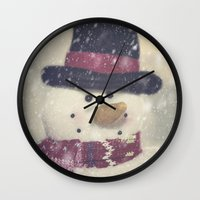 snowman Wall Clocks featuring Snowman by Photography and Fine Art by Pamela