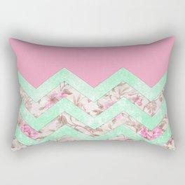 Girly Mint Green Pink Floral Block Chevron Pattern Rectangular Pillow