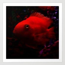 Red Electro Fish Art Print