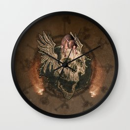 Awesome creepy skull with rat Wall Clock