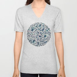 Teal Garden - floral doodle pattern in cream & navy blue Unisex V-Neck