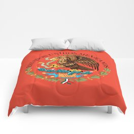 Mexican Flag seal on orange red background Comforters