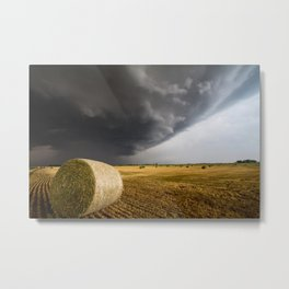 Spinning Gold - Storm Over Hay Bales in Kansas Field Metal Print