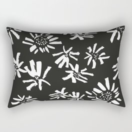 White Flowers On The Black Rectangular Pillow