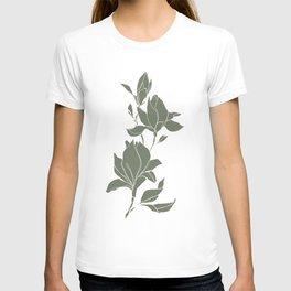 Botanical illustration line drawing - Magnolia Green T-shirt