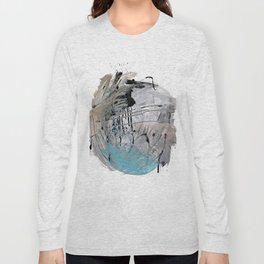 Riptide: an abstract mixed media piece in black, white, brown and blue Long Sleeve T-shirt
