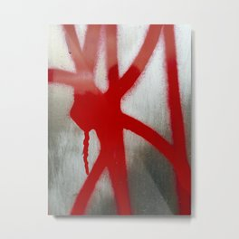 Red on Silver Metal Print