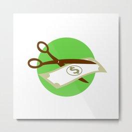 Cutting Dollar Bill With Scissors Retro Metal Print