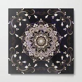 Glowing Serenity Blue White Flower Mandala Metal Print
