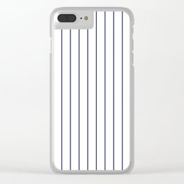 Classic Blue Baseball Stripe Lines On White Clear iPhone Case