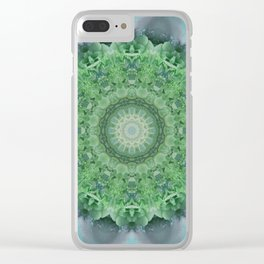Ornamented mandala in green and blue colors Clear iPhone Case