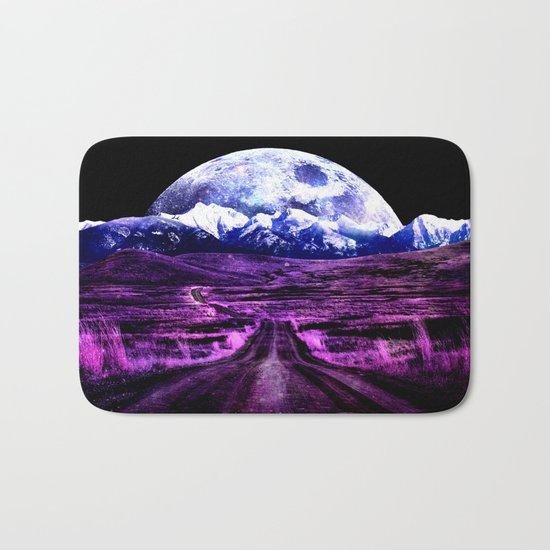 Highway to Eternity (moon mountain) Fuchsia Bath Mat
