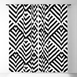 Op art pattern with black and white striped lines Blackout Curtain