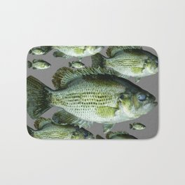 SCHOOL OF GREEN FISH  IN GREY Bath Mat