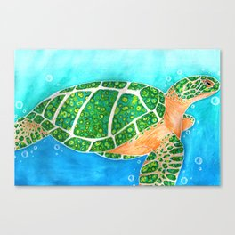 Malachite Sea Turtle Canvas Print
