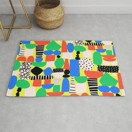 Geometric Collage Matisse Style Green Red Blue Red Pattern Rug
