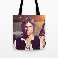 han solo Tote Bags featuring Han Solo by Cesar Carlevarino