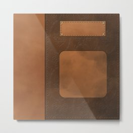 """A series of """"Covers for notebooks"""" . Brown leather. Metal Print"""