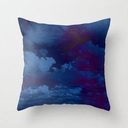 Clouds in a Stormy Blue Midnight Sky Throw Pillow