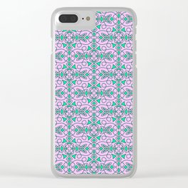 Turquoise Lasso Cowgirl Pink and Green Arrowhead Cowgirl Dreams Abstract Southwestern Design Pattern Clear iPhone Case