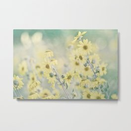 Pastel Wildflowers Yellow Helianthus Daisies -- Botanical Landscape Metal Print