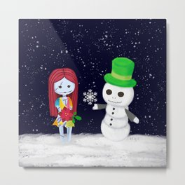 Snowman Jack and Sally with Poinsettia Metal Print
