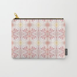 Shabby Chic Peach with White and Yellow Carry-All Pouch