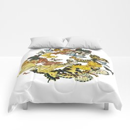 A Kaleidoscope Of Vintage Butterflies Vector Comforters