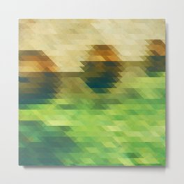 Green yellow triangle pattern, lake Metal Print