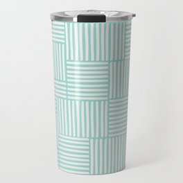 Geometric hand drawn stripes and lines pattern in light blue color Travel Mug