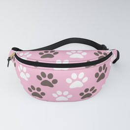Animal Paw Print Pattern Pink Fanny Pack