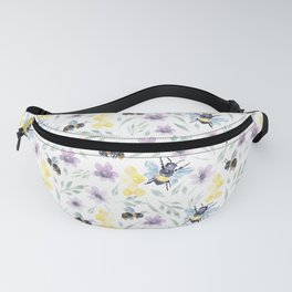 Watercolor Bees and florals | Save the bees Fanny Pack