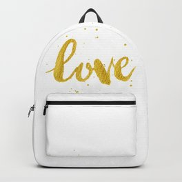 Love Calligraphy Writing in Gold Backpack