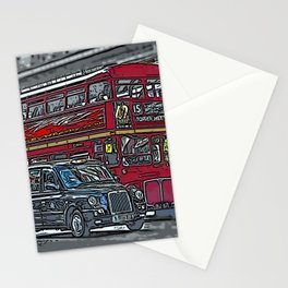London bus and cab Stationery Cards