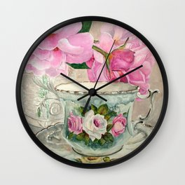 Hand Painted China Tea Cup and Roses Wall Clock