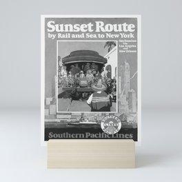 retro old Sunset Route poster Mini Art Print