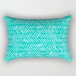Turquoise Herringbone Lines Rectangular Pillow