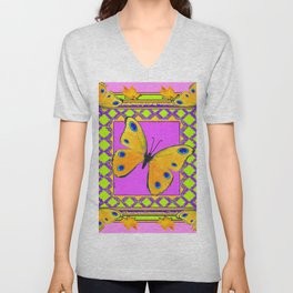 Decorative Golden Yellow Spotted Butterflies Pink Art Unisex V-Neck