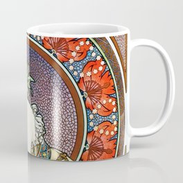 "Alphonse Mucha ""Girl With Easel"" Coffee Mug"