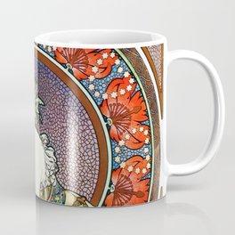 "Alphonse Mucha ""Girl With Easel"" Coffee Mug"