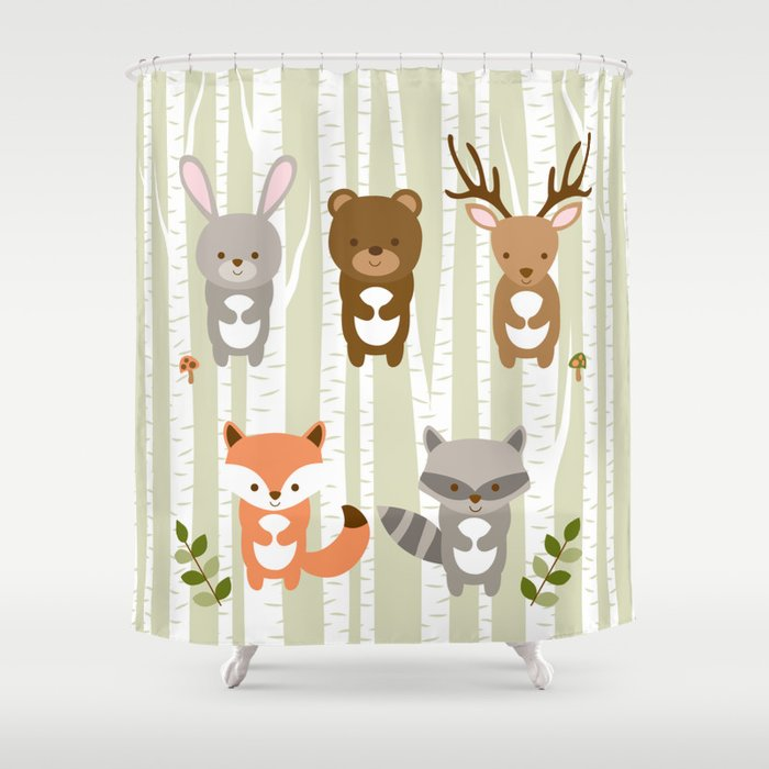 Cute Woodland Forest Animals Shower Curtain By Littleprintsparties