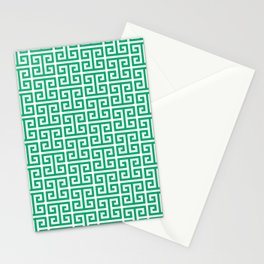 Jade and White Greek Key Pattern Stationery Cards