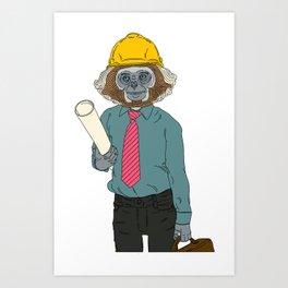 MONKEY WORKER CLOSEUP (2 of 2) Art Print