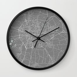 Rennes, France, Grey, City, Map Wall Clock