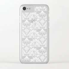 Stegosaurus Lace - White / Silver Clear iPhone Case