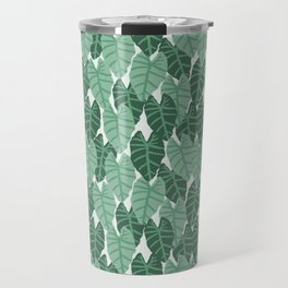 Alocasia indoor house plant hipster watercolor plant pattern botanical leaves green painting home Travel Mug