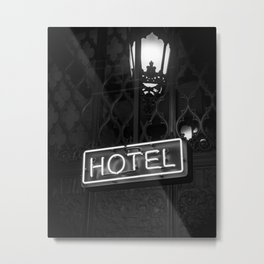 Vintage Hotel Neon Sign Black and White Photography Metal Print